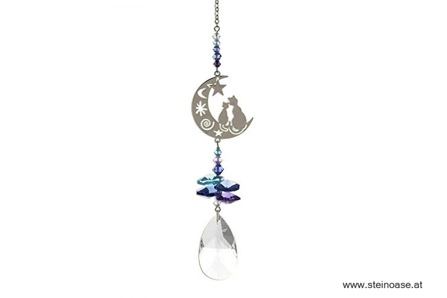 'Cats in the moon' Swarovski Kristallmobile